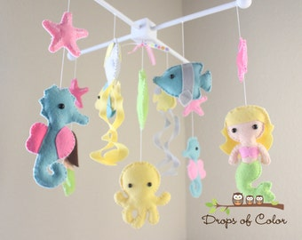 "Baby Crib Mobile - Baby Mobile - Nursery Crib Mobile - Ocean Mobile ""BIG Under the Sea Creatures"" (You can Pick your colors)"