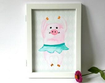 Ballerina piglet poster, nursery art print, dancing piglet, ballerina pig poster, pig print, watercolor pig poster print, kidsroom poster