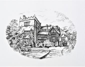 Caren Taylor ORIGINAL Art Pen and Ink Drawing *Turton Tower* with *FREE SHIPPING!* An historic Tudor House set in the Lancashire countryside