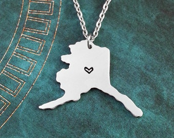 Alaska Necklace, Personalized Jewelry, Hand Stamped Necklace, Long Distance Relationship, State Necklace, Map Necklace, Heart State Necklace