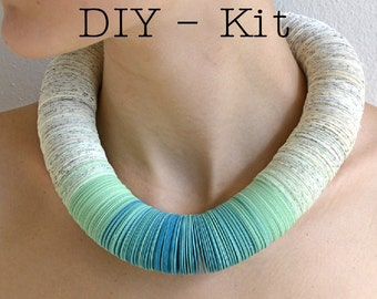 DIY Jewelry Kit : Necklace made of book pages and papers turquoise