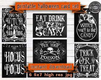 HALLOWEEN PRINTABLE CARDS, Halloween, trick or treat, hocus pocus,witch,skulls,printable,card set, greeting cards, Halloween printables