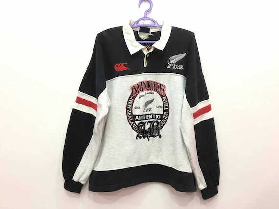 Sweatshirt Rugby Canterbury All Spellout Steinlager Zealand Blacks Embroidery Rare New Vintage UTqwg