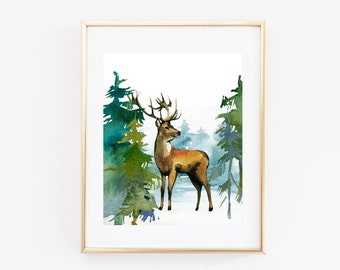 Watercolor Winter Forest Scene, Deer Printable Art Print 8x10 Inches, Christmas Home Decor, Winter Wall Art, Mountain Scene Woodland Nursery