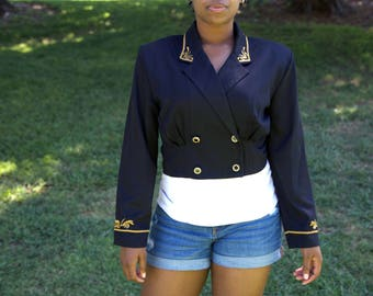 Black and Gold Rhythm Nation Bolero Crop Jacket