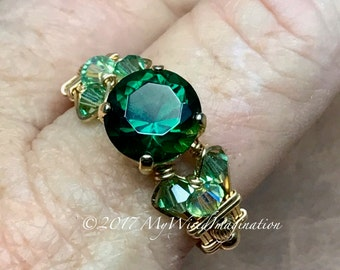 Hydrothermal Green Quartz, Dark Emerald Green, Hand Crafted Ring, Wire Wrapped Ring in 14k GF or Sterling Silver, Green Quartz Ring