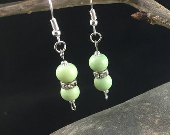 spring green and faux diamond silver dangle earrings