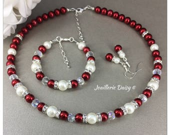 Christmas Gift for Her Christmas Jewelry Set Rhinestones and Pearl Necklace Red Necklace Bridesmaid Gift for Mother Winter Wedding Jewelry