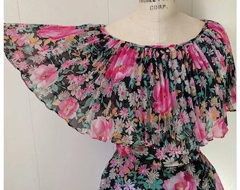 Vintage 1970s floral formal dress