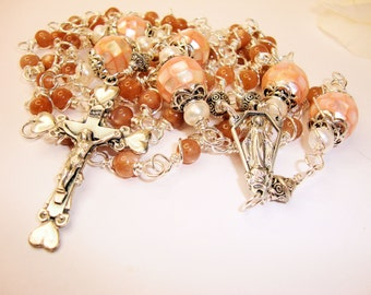 Catholic Rosary, Moonstone Rosary, Baptism Rosary,first communion rosary, Miraculous rosary, Abundant Grace Rosaries, crucifix and center