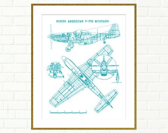 P 51 mustang art etsy p51 mustang blueprint p51 blueprints instant download aircraft teal decor p51 malvernweather Gallery
