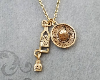 Tequila Necklace SMALL Sombrero Necklace Mexican Jewelry Charm Necklace 21st Birthday Bartender Jewelry Pendant Alcohol Jewelry Waitress