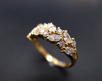 Marquise Diamond Wedding Ring in 14K Gold, Marquise Diamond Engagement Ring, Marquise Diamond Ring, Diamond Wedding Band, Marquise Rings