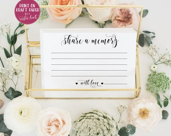Share a memory card Funeral memory card Memorial card eepsKake card Memorial ideas Funeral card Guest book ideas insert Wedding memory