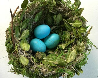 "Bird Nest - ""Boxwood"" Handmade (Bird Eggs Included)"