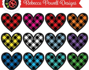 Clipart Stitched Hearts Set, Red, Green, PNG, SVG, EPS, Lumberjack Buffalo Plaid,Gingham Checks,Digital Clip Art-Commercial and Personal Use