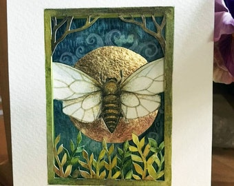 ACEO, original tiny paper cut painting  by Amanda Clark. Painting no 116. Honey Bee, decorative art