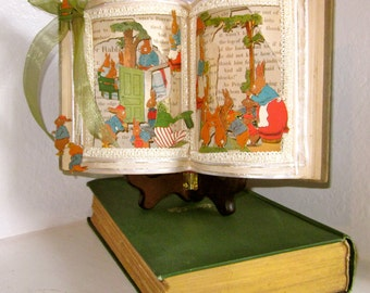 Peter Rabbit pop up Altered book Fairy tale Peter Rabbit 1921 Antique book altered popup style