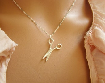 Scissor Necklace, Cosmetologist Gift , 925 Sterling Silver Scissor Charm Necklace, Scissor Pendant Necklace, Gift for Hair Stylist N010