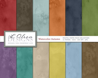 Autumn Watercolor Paper Pack - 12 digital paper patterns - INSTANT DOWNLOAD