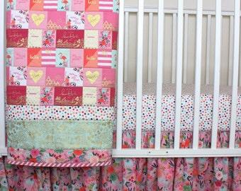 Flamingo Crib Set/ Floral Crib Bedding/ Pink Crib Bedding/ Tropical Crib Set/ Pink and Mint/ Ruffle Crib Skirt/ Dot Crib Sheet/ Baby Girl