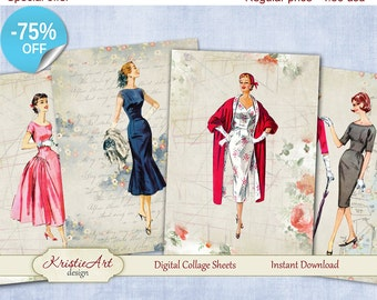 75% OFF SALE Retro Fashion - Digital Collage Sheets Printable download, Digital Cards, Large digital image, Transfer Images books fabrics
