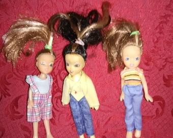 Vintage Toy Central miniature dolls. Set of 3.