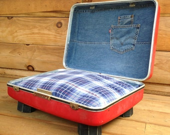 Upcycled Vintage Suitcase Doggie Bed with Flannel Pillow -  REDUCED PRICE - Red, Denim and Plaid