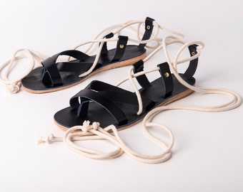 Greek Wrap Up sandals with ropes - Leather Sandals - One of a Kind - Ancient Greek sandals with leather and ropes in white
