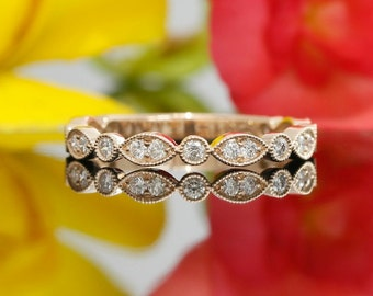 Round Diamond Three-Quarter Eternity Wedding Band with Milgrain Design in 14k Rose Gold (avail. in white gold, rose gold and platinum)