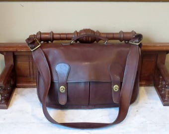 Etsy BDay SaleCoach Carrier Mahogany (Mocha ?) Leather Bag With Brass Hardware Style No 9800- Made In United States- VGC