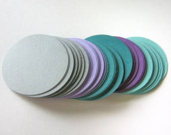 100 Circle Die Cuts 2 inch, Purple Gray Blue, Round Cut Outs, Scrapbook Cardstock Paper, Ready to Ship
