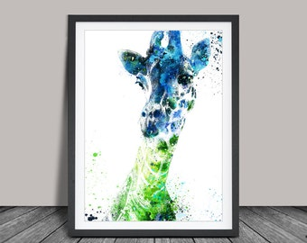 Giraffe Art Print , Giraffe with Watercolor, illustration Drawing Upcycled Art Print (52)
