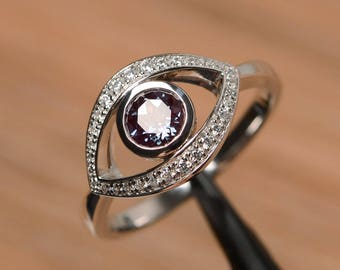 round cut lab alexandrite ring wedding ring solid sterling silver ring evil eye gemstone ring June birthstone ring