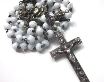 Vintage French White Glass Rose Beads Rosary St. Therese de Lisieux