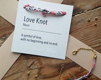 Liberty Print Love Knot Bracelet // Everyday Jewellery // Floral // Friendship Bracelet //