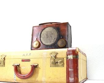 Vintage Brown Leather  AM Radio