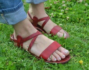 Red Leather Sandals, Summer Flats, Women Shoes,Handmade shoes, Greek Sandals