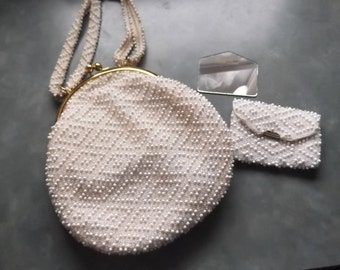 Vintage 1950's Corde* Bead Evening Purse-Complete with Mirror and Change Purse-White and Clear Beads