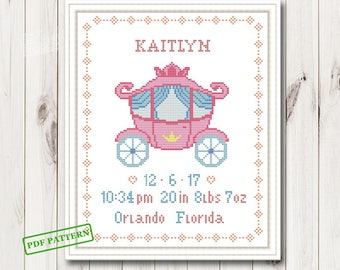 Baby cross stitch pattern pdf birth sampler birth announcement Girl Cross Stitch Gift personalized unique baby girl diy gift