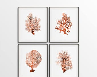 Nautical Prints, Set of 4, Digital Nautical Art, Coral Printable, Nautical Décor, Orange Coral, Sea Wall Art, DIY Wall Art, Large Printable