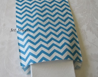 50 Paper Bags, Gift Bags, Party Favor Bags, Candy Bags, Blue Chevron, Turquoise Paper Bags, Retail Merchandise Bags, Stripe Paper Bags 6x9