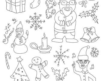 Set of Christmas Illustrations - Art Outlines Full Page 20 Original Hand Drawn Outline Illustrations