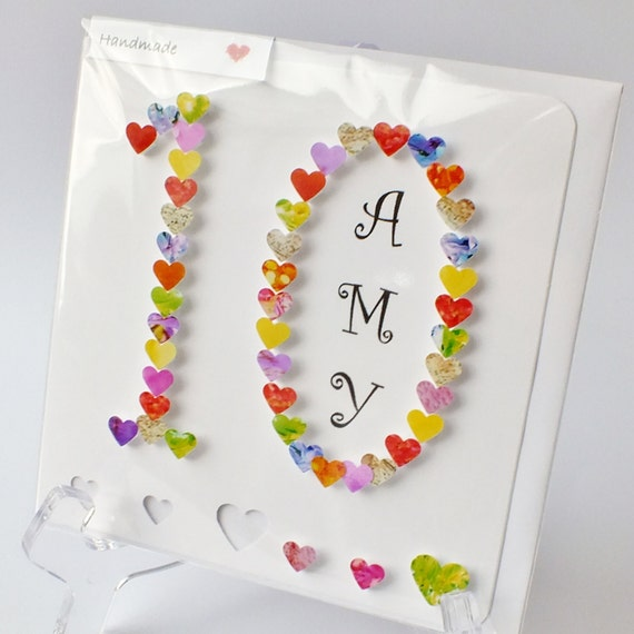 Handmade 3d 10th birthday card personalised 10th birthday bookmarktalkfo Gallery