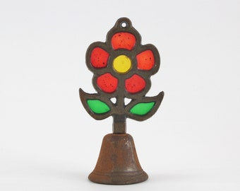Vintage Stained Glass Suncatcher Flower Bell - Cast Iron Handbell - Patient Sick Call Bell - Dinner Bell