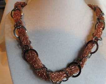 "19 1/2"" Copper Necklace with Copper Pendant, Necklace, Copper, Pendant, Gunmetal Chain"