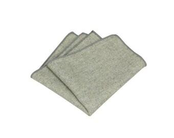 Grey Herringbone Wool Pocket Square.Gray Wool Hankies.Mens Pocket Square Wedding. Gifts.