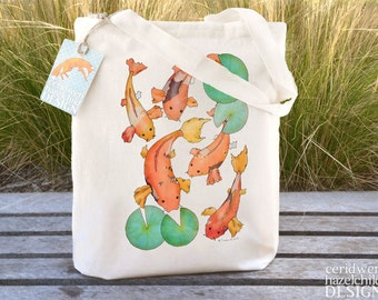 Koi Carp Tote Bag, Ethically Produced Reusable Shopper Bag, Cotton Tote, Shopping Bag, Eco Tote Bag, Stocking Filler, Koi Gift