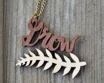 Woodcut GROW Necklace