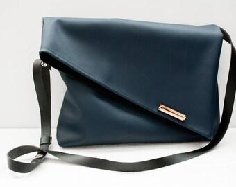 Blue Fold Over Satchel with adjustable strap, Messenger Bag